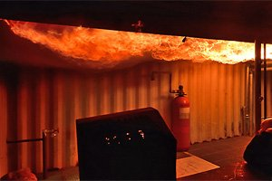 Simulation Flashover im Trainingszentrum